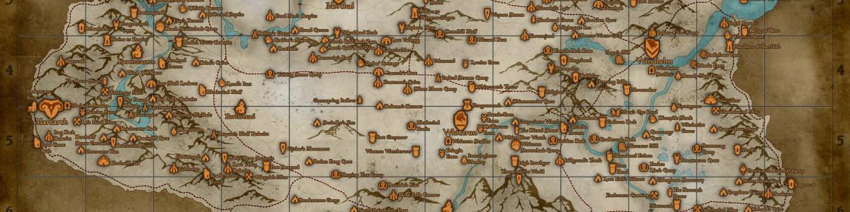 TES 5: Skyrim — карта мира с локациями