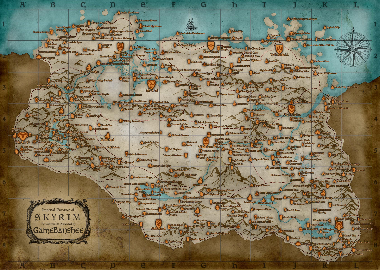 Карта мира Skyrim на английском языке