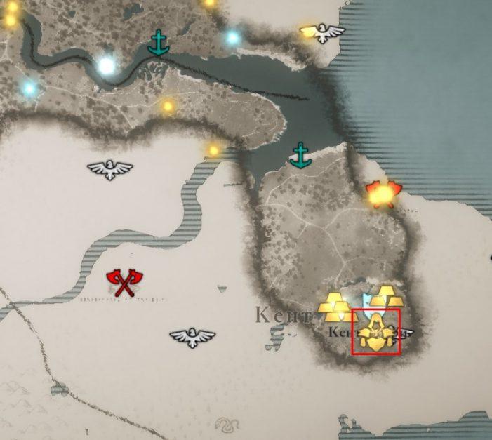Местонахождение доспеха Бригантины на карте мира Assassin's Creed: Valhalla
