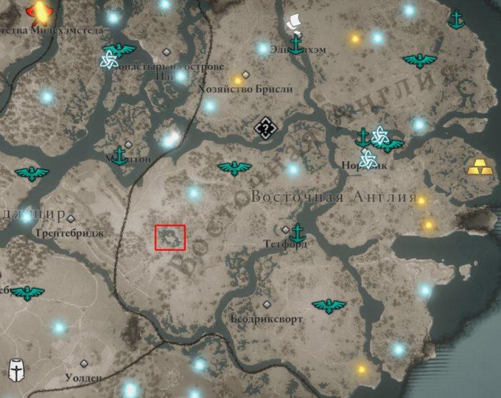 Убежище в лесу на карте Assassin's Creed: Valhalla