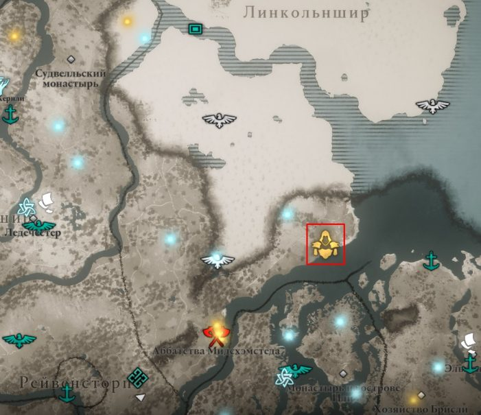 Местонахождение доспеха Галлогласа на карте мира Assassin's Creed: Valhalla