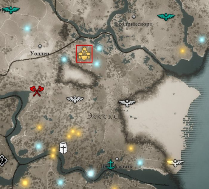 Местонахождение шлема Галлогласа на карте мира Assassin's Creed: Valhalla
