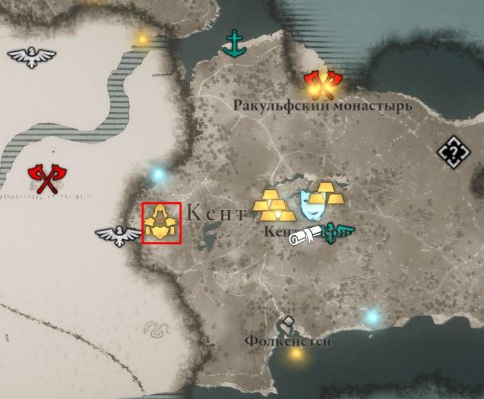 Местонахождение рукавиц Бригантины на карте мира Assassin's Creed: Valhalla