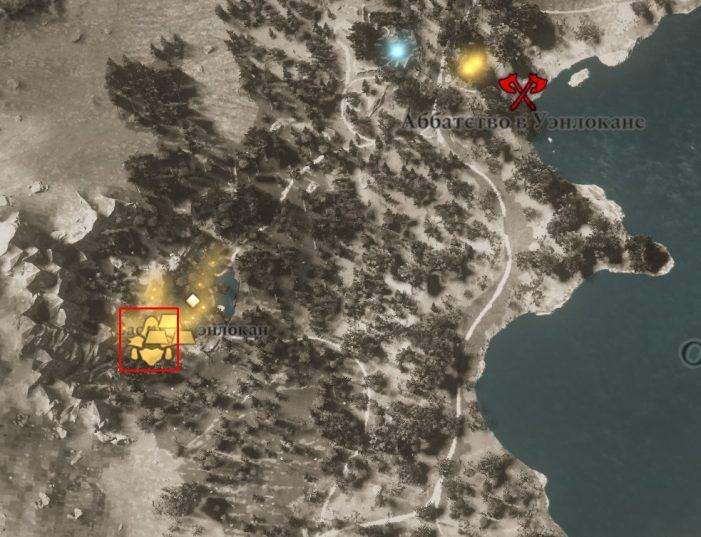 Местонахождение шлема Бригантины на карте мира Assassin's Creed: Valhalla