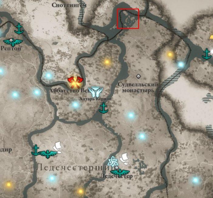 Крепость Темплборо на карте мира Assassin's Creed: Valhalla