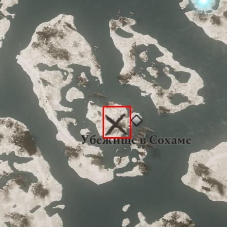 Местонахождение штанов Охотника на карте мира Assassin's Creed: Valhalla