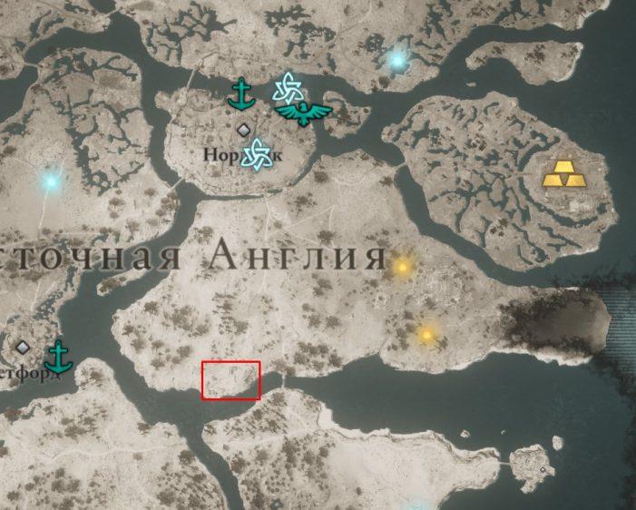 Кингсбери на карте мира Assassin's Creed: Valhalla