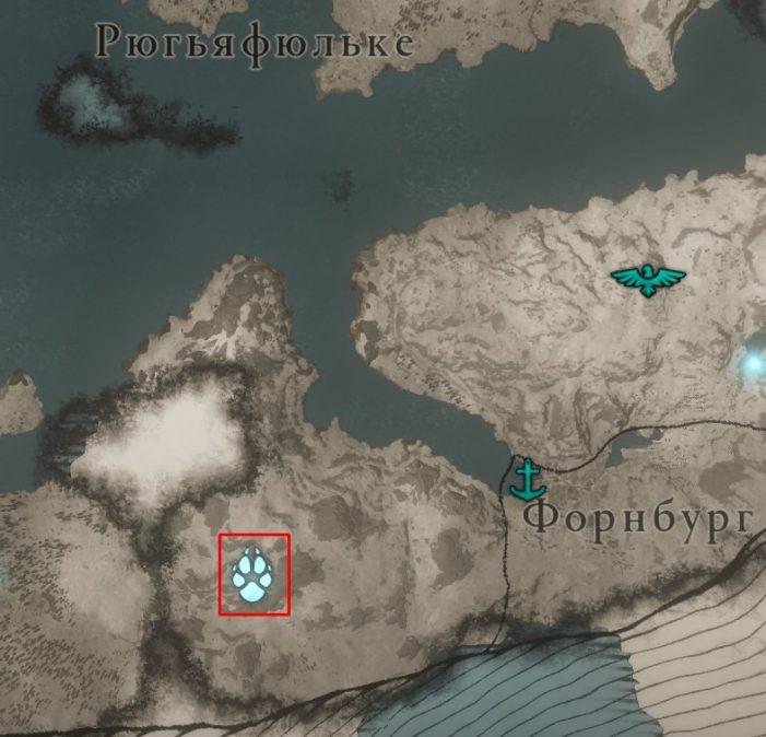 Местонахождение Оленя Алых Вершин на карте Assassin's Creed: Valhalla