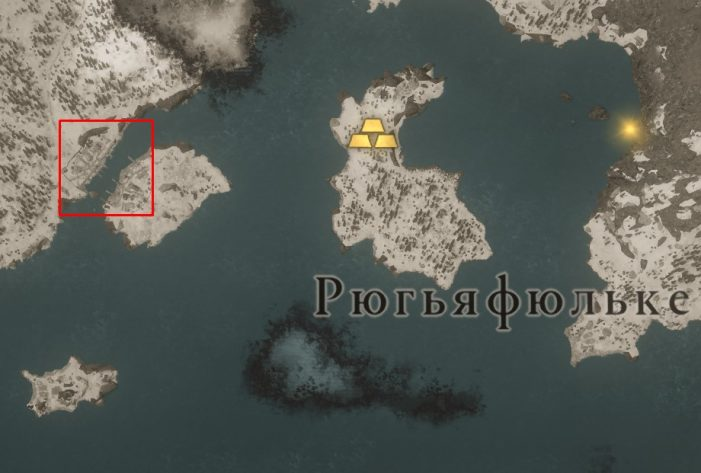 Местонахождение Рекурсивного лука на карте мира Assassin's Creed: Valhalla