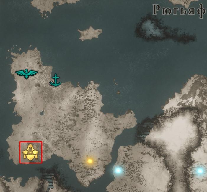 Местонахождение Сакса Инглингов на карте мира Assassin's Creed: Valhalla