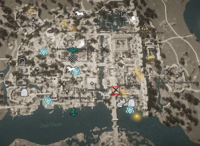 Местонахождение Щита бриттов на карте мира Assassin's Creed: Valhalla