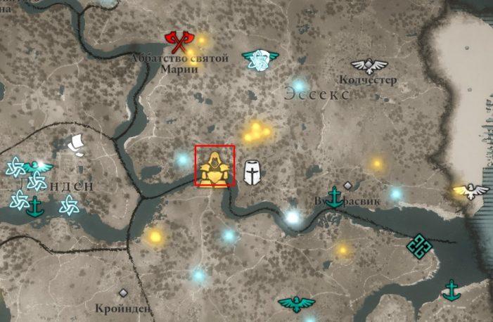 Местонахождение Щита спартанцев на карте мира Assassin's Creed: Valhalla