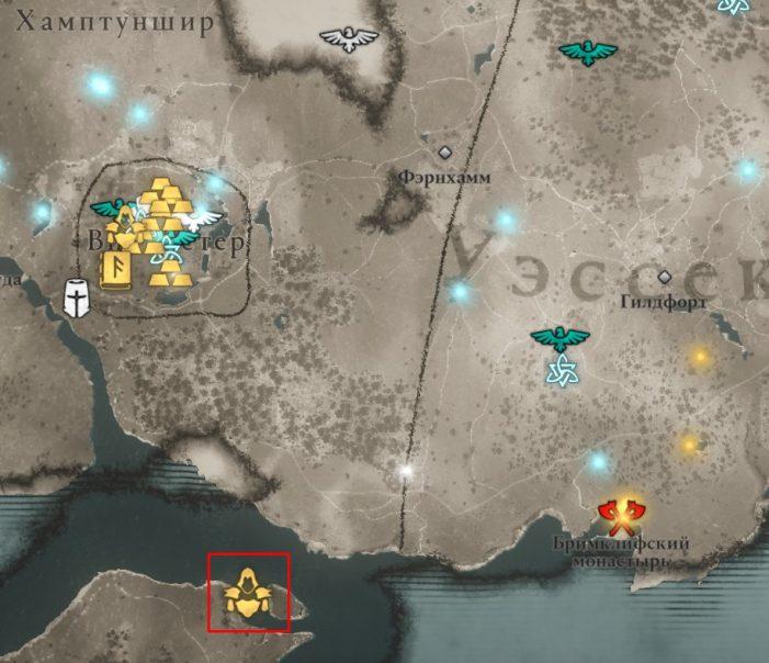Местонахождение Скальда Смерти на карте мира Assassin's Creed: Valhalla