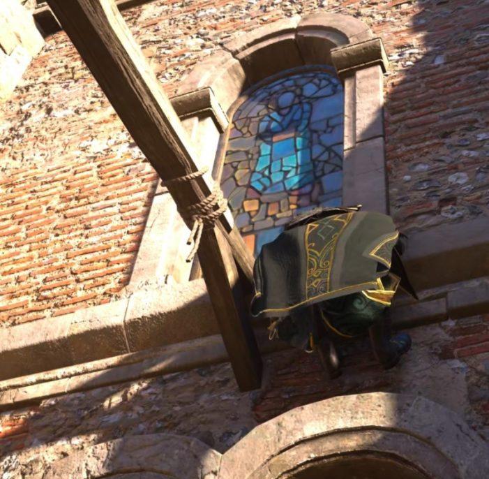 Витражное окно и балка