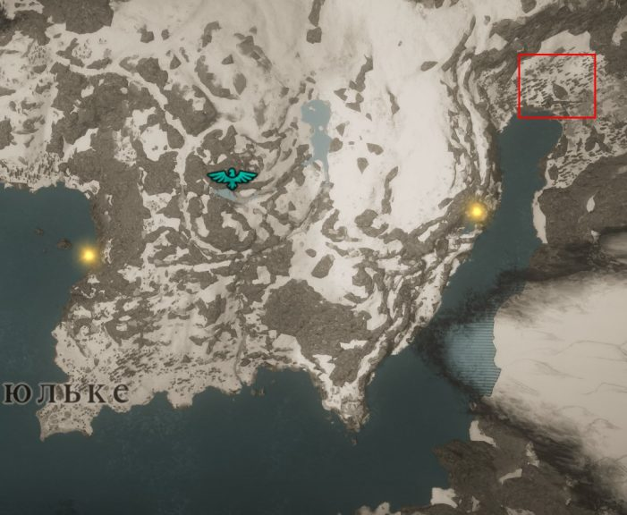 Местонахождение Железной Звезды на карте мира Assassin's Creed: Valhalla