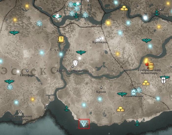 Аномалия в Суссексе на карте мира