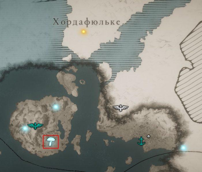 Мухоморы в Хордафюльке на карте Assassin's Creed: Valhalla