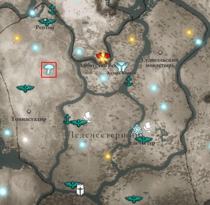 Мухоморы в Ледечестершире на карте Assassin's Creed: Valhalla