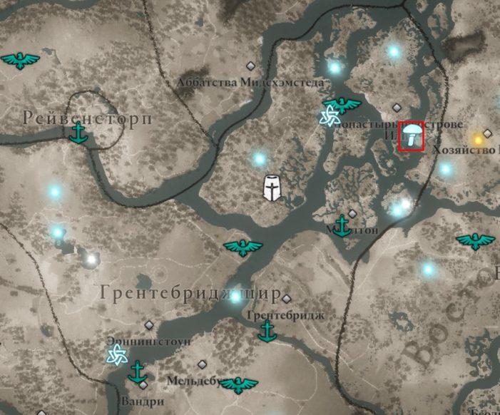 Мухоморы в Грентебриджшире на карте Assassin's Creed: Valhalla