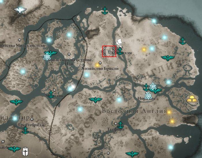Мухоморы в Восточной Англии на карте Assassin's Creed: Valhalla