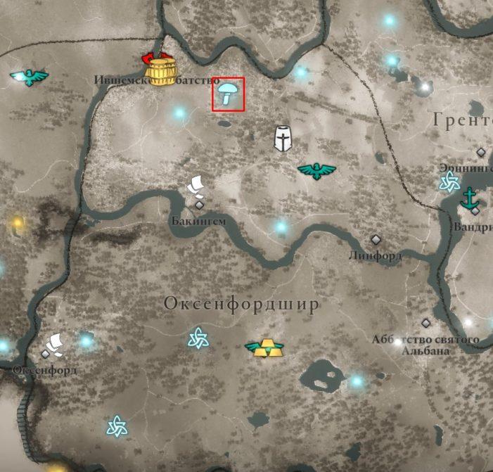 Мухоморы в Оксенфордшира на карте Assassin's Creed: Valhalla