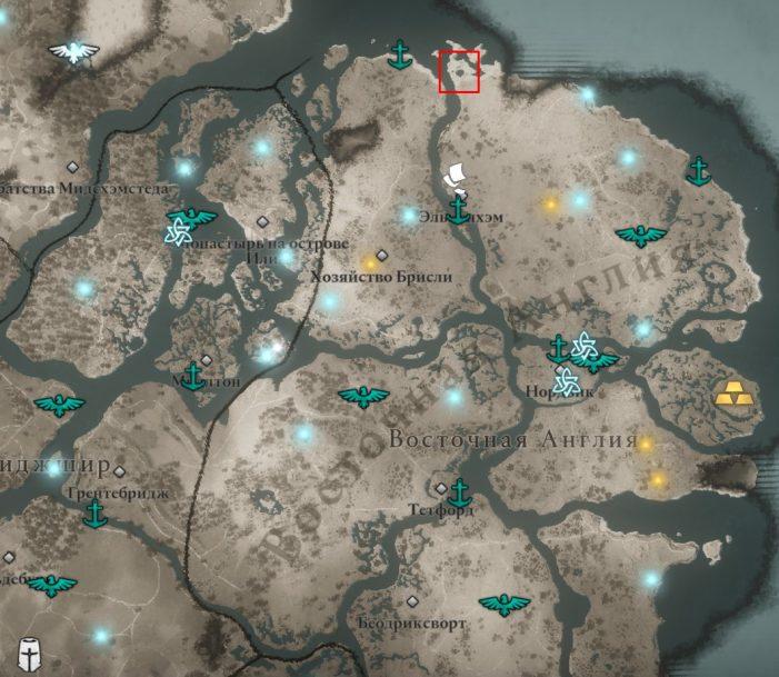 Священные камни Сихендж в Восточной Англии на карте Assassin's Creed: Valhalla