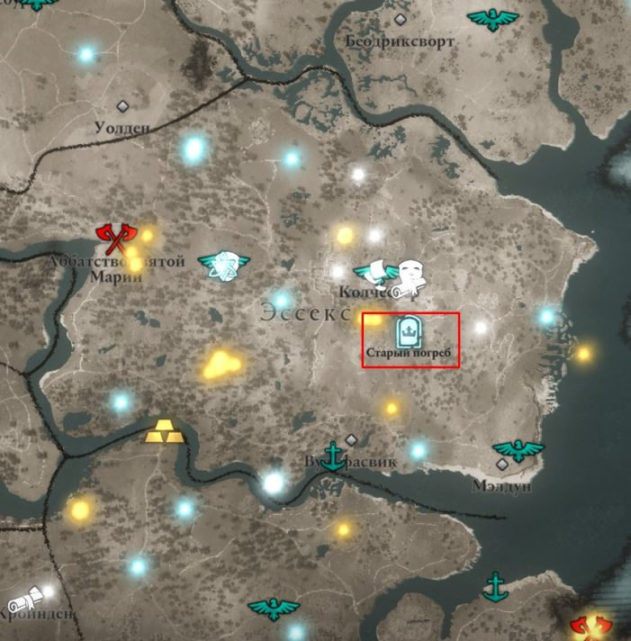 Сокровища Британии в Эссексе на карте мира Assassin's Creed: Valhalla