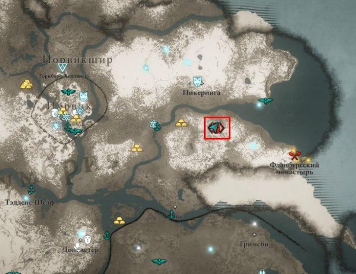 Ревнитель Каллин на карте мира Assassin's Creed: Valhalla