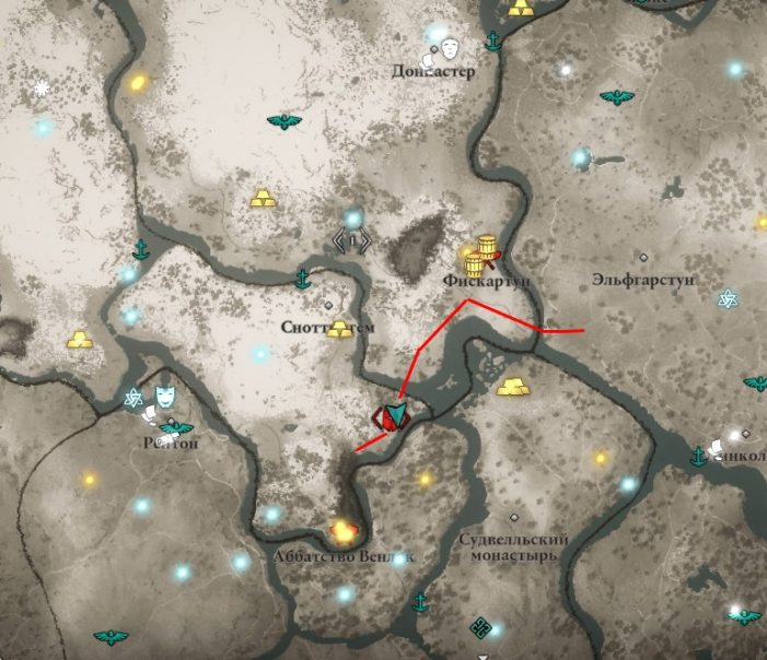 Ревнитель Кола на карте мира Assassin's Creed: Valhalla