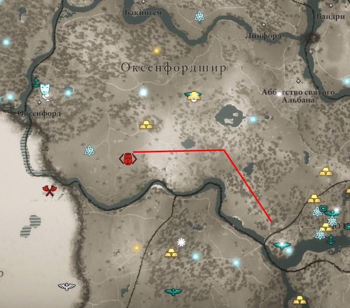 Ревнитель Кутберт на карте мира Assassin's Creed: Valhalla