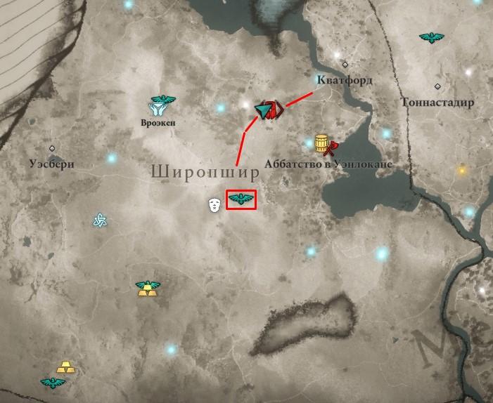 Ревнитель Вилдмер на карте мира Assassin's Creed: Valhalla